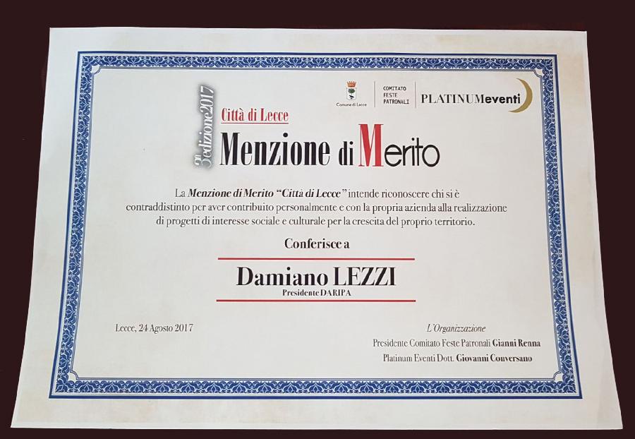 Riconoscimento a Daripa da Città di Lecce