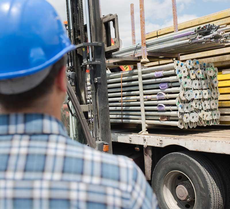 consegna prodotti edili su cantiere a lecce